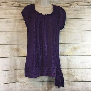 New Heart Soul Shiny Purple Side Tie Blouse Top L